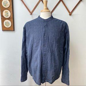 Linen Band Collar Button Down Shirt